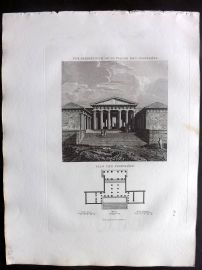 Barthelemy 1824 Antique Print Vue Perspective de la Facade des Propylees. Greece